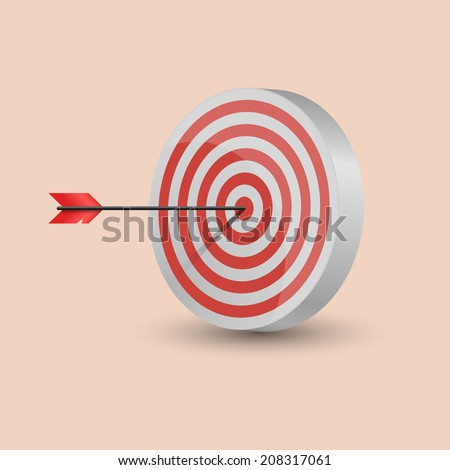 One arrow hit the center of a red target. Excellence concept for business or marketing purpose. Vector illustration, eps 10.