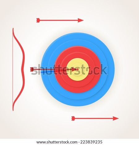 One arrow hits the center of a target, but others not. - stock vector