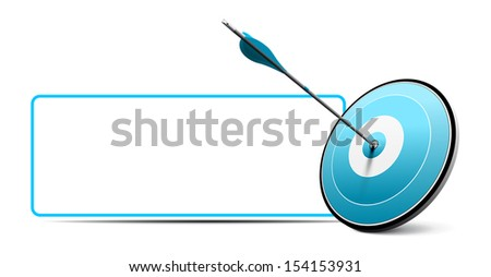 One arrow hitting the center of a red target. Vector image over white with blank sign. Modern design for business advice or excellence. - stock vector