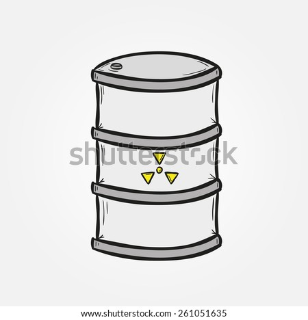 one barrel with dangerous fluid on gray background - stock vector