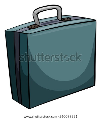 One blue attache case on a white background