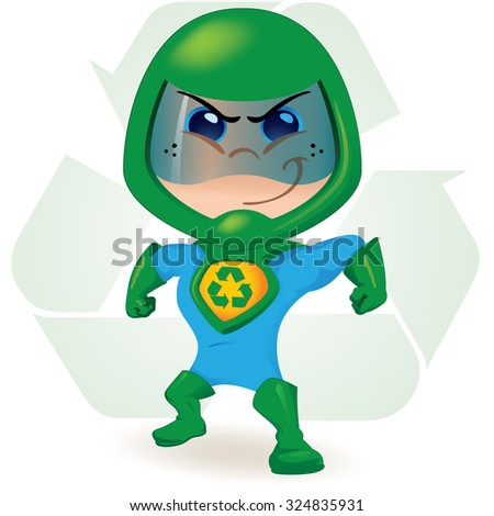 One boy with a uniform ecological super hero. Ideal for educational, instructional and institutional material - stock vector