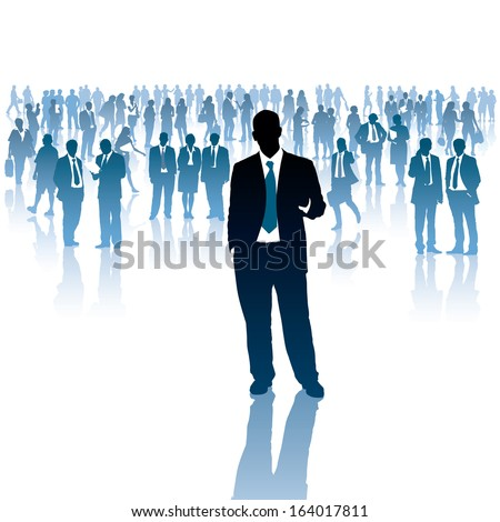 One businessman and a crowd of people in the background.  - stock vector