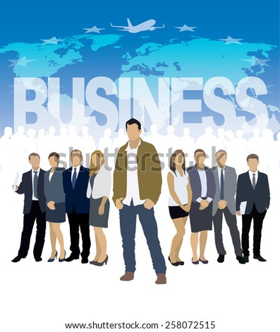 One businessman in front of a group of people. - stock vector