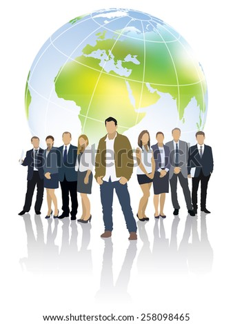 One businessman in front of a group of people and world globe - stock vector
