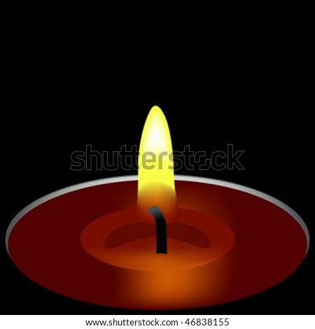 one candle composition, abstract art illustration