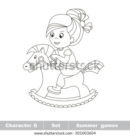 one cartoon baby girl play her rocking horse baby character game for children - Baby Rocking Horse Coloring Pages