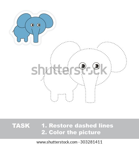 One cartoon elephant to be traced. Restore dashed line and color picture! Trace game for children. - stock vector