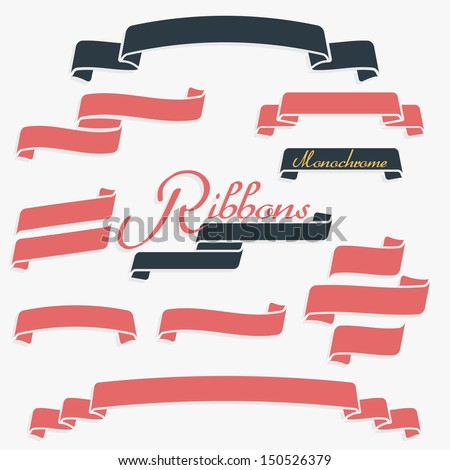 One color quality banners ribbons  - stock vector