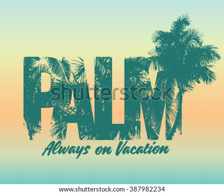 One Color Summer Palm Print Composition T Shirt Beach