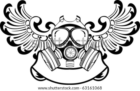 Army Gas Mask Drawing One Color Wings Gas Mask