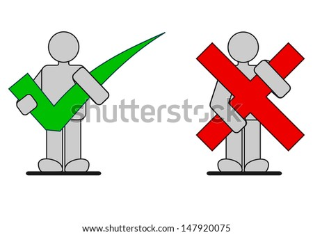 One correct man and one wrong man concept - stock vector