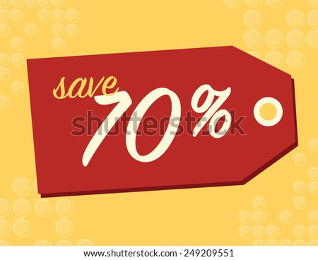 One day sale sign with 70% off original price - stock vector