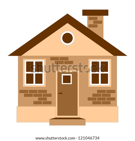 One detailed house icon isolated on white, vector illustration