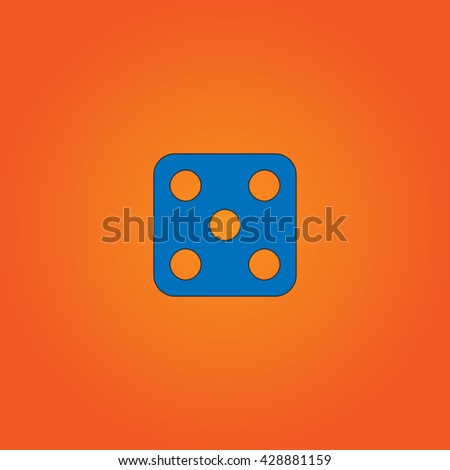 One dices - side with 5. Blue flat icon with black stroke on orange background. Collection concept vector pictogram for infographic project and logo - stock vector