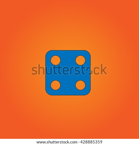 One dices - side with 4. Blue flat icon with black stroke on orange background. Collection concept vector pictogram for infographic project and logo - stock vector