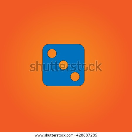 One dices - side with 3. Blue flat icon with black stroke on orange background. Collection concept vector pictogram for infographic project and logo - stock vector