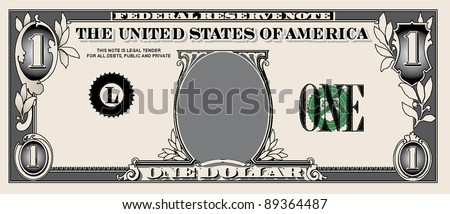 one dollar bill, simple vector illustrations details - stock vector