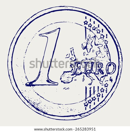 One euro coin. Doodle style - stock vector