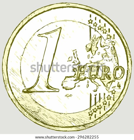 One euro coin. Vector Image - stock vector