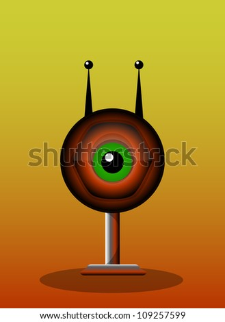 One-Eyed Creature, Red Monster, Big Alien Eye with Antennae and Stand, vector illustration - stock vector