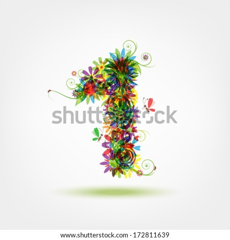 One, floral number for your design - stock vector