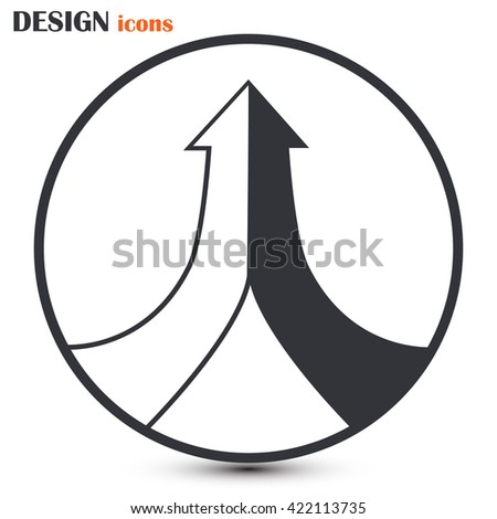 One goal. The two arrows are connected in one direction up. Vect - stock vector