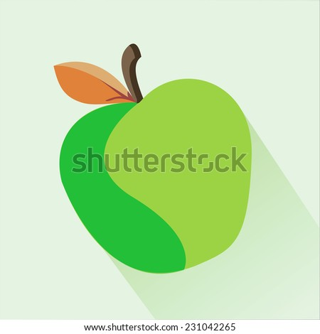 One green apple with the orange leaf on a green background. Vector image, long shadow - stock vector