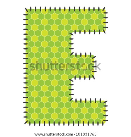 One green letter E with pattern. Stitched Type.