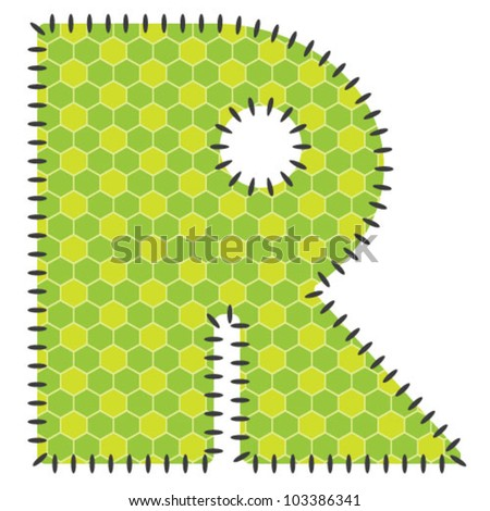 One green letter R with pattern. Stitched Type.