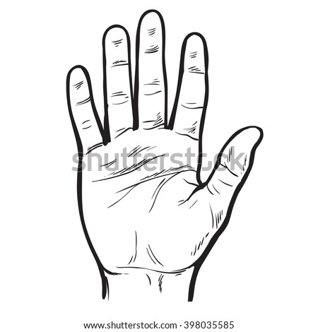 One hand. Hand showing five fingers. A welcome gesture. Stopping gesture. stop character. Opened palm of the hand. Painted vector hand. Contour arm. Illustration of five fingers. - stock vector