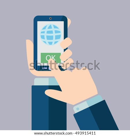 One hand holds smartphone and finger touch screen.