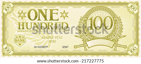 one hundred abstract banknote  - stock vector