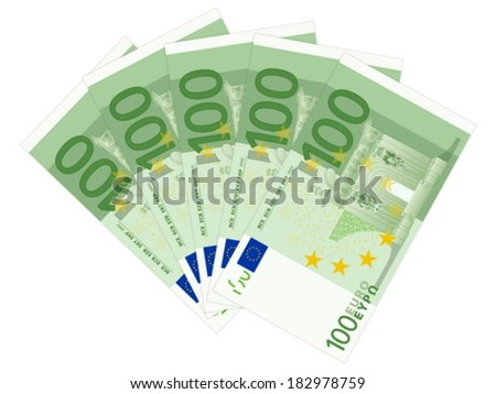 One hundred banknotes on a white background. Vector illustration. - stock vector