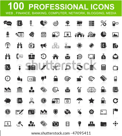 One hundred computer icons collection - stock vector