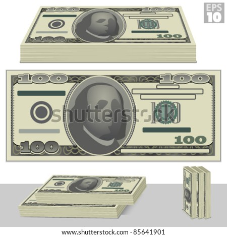 One hundred dollar bill and stacks of money isolated on white - stock vector