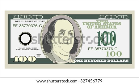 One hundred dollars. Vector illustration isolated on white  - stock vector