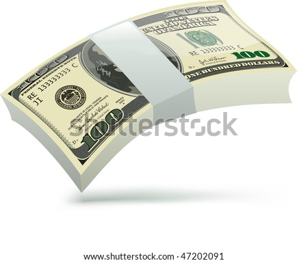 One hundred dollars. Vector illustration isolated on white background - stock vector