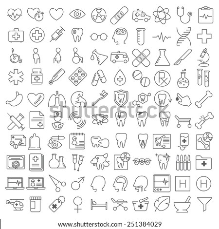 One hundred ector medicine thin line icons set - stock vector