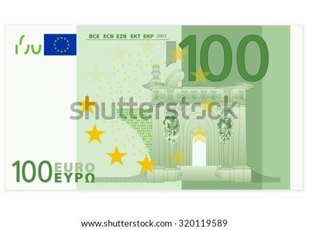 One hundred euro banknote on a white background. - stock vector