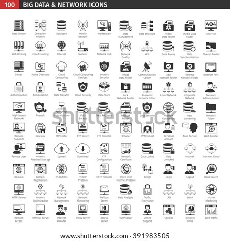 One Hundred Network And Database Black Icons Set. - stock vector
