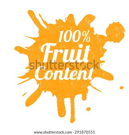 One hundred percent fruit content grunge rubber stamp from splash, vector illustration - stock vector