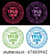 One hundred percent true love vector stamp - stock vector