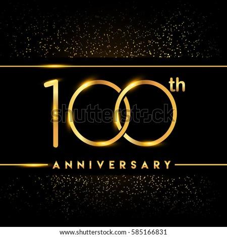 One Hundred Years Anniversary Celebration Logotype Stock Vector