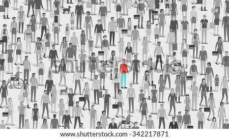 One individual standing out of the crowd, individuality, choice and free thought concept - stock vector