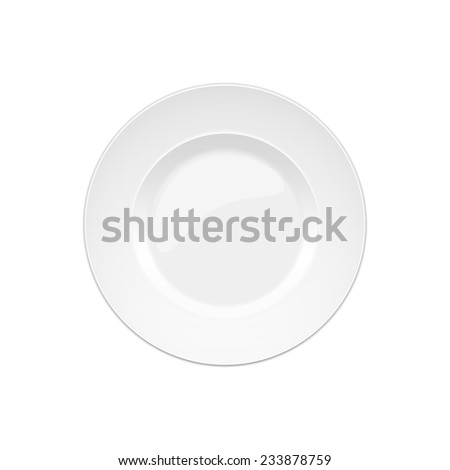 one isolated white porcelain plate on a white background