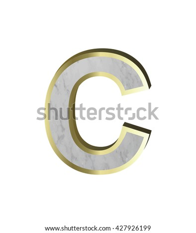 One letter from marble with gold frame alphabet set isolated over white background
