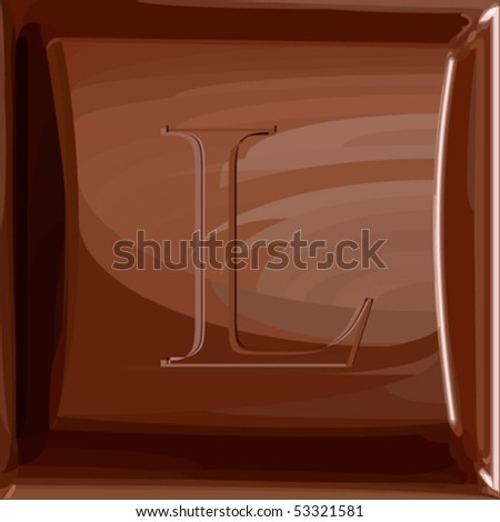 One letter of chocolate alphabet. Fills only. Chocolate chunk and letter are in separate layers. Can be used as seamless pattern (swatch without letter included). - stock vector