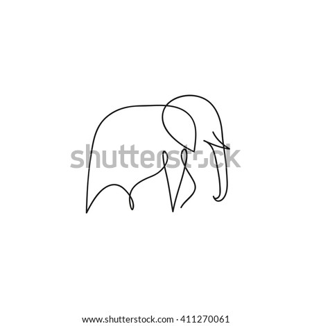 One line elephant design silhouette. Hand drawn minimalism style vector illustration