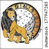 One Lion is on the Horoscope circle.On Horoscope circle are  symbols of all zodiac signs  On a white background.Graphic Vector  Illustration.   - stock photo
